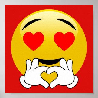 Le coeur Emoji avec amour remet l'affiche rouge Posters