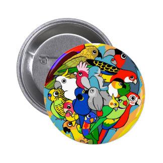Le coeur I parrots la bande dessinée mignonne Badge