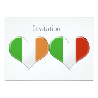 Le coeur irlandais et italien marque l'invitation carton d'invitation  12,7 cm x 17,78 cm