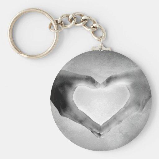 Le coeur remet la photo de B&W Porte-clé