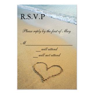 Le coeur sur le rivage épousant RSVP carde Carton D'invitation 8,89 Cm X 12,70 Cm