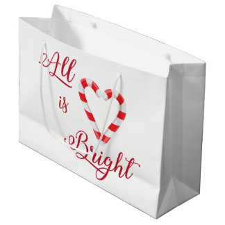 Le coeur tout de sucre de canne est blanc rouge grand sac cadeau