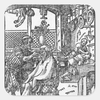 Le coiffeur autocollants carrés