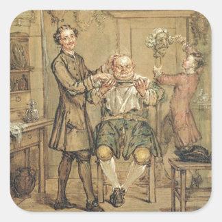 Le coiffeur, c.1760-69 (huile sur la toile) sticker carré