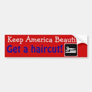 Le coiffeur drôle maintiennent l'Amérique belle Autocollant Pour Voiture
