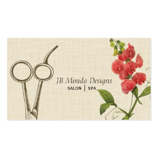 Le coiffeur floral vintage cisaille des ciseaux cartes de visite personnelles