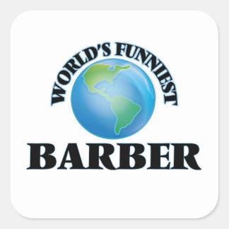 Le coiffeur le plus drôle du monde autocollants carrés