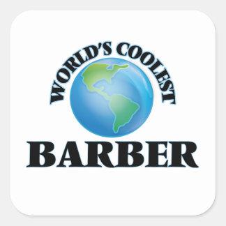 Le coiffeur le plus frais du monde autocollant carré