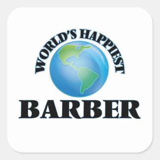 Le coiffeur le plus heureux du monde sticker carré