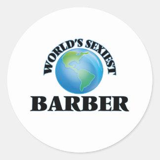 Le coiffeur le plus sexy du monde autocollant rond
