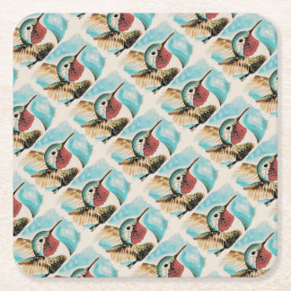 Le colibri de la jolie côte dessous-de-verre carré en papier
