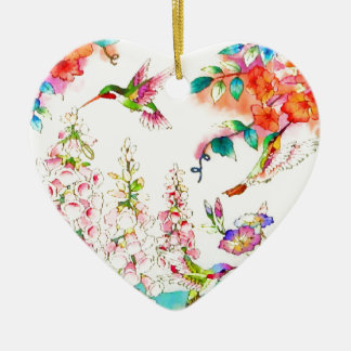 Le colibri fleurit le paysage ornement cœur en céramique