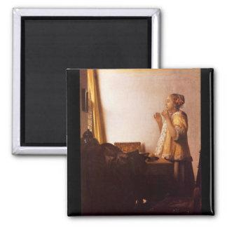 Le collier de perle par Johannes Vermeer Magnet Carré