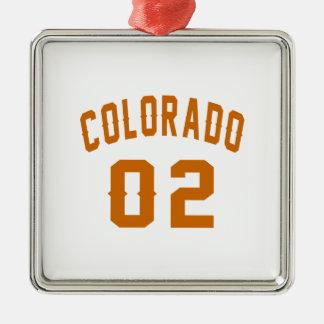 Le Colorado 02 conceptions d'anniversaire Ornement Carré Argenté