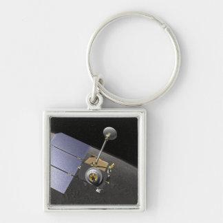 Le concept 9 de l'artiste porte-clé carré argenté