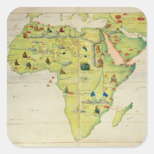 Le continent de l'Afrique Autocollant Carré