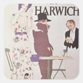 Le continent par l'intermédiaire de Harwich Sticker Carré