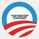 Le contribuable votant pour Obama est comme un pou Autocollant Rond