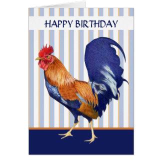 Le coq barre la carte de joyeux anniversaire