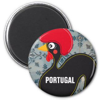 Le coq du Portugal et des mosaïques portugaises Magnet Rond 8 Cm
