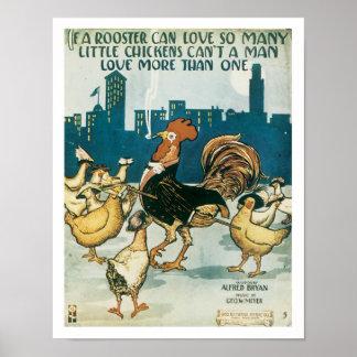 Le coq peut aimer l'affiche vintage d'art de musiq poster