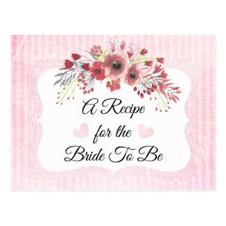 Le corail mauve rose rougissent carte rose de