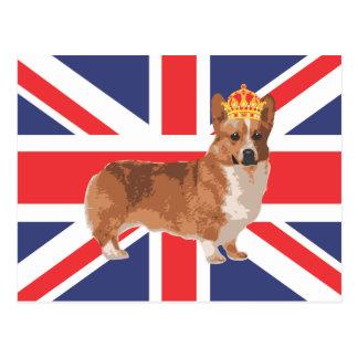 Le corgi de la Reine avec la couronne et l'Union Carte Postale