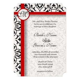 Le côté élégant de damassé encadre le mariage roug invitations