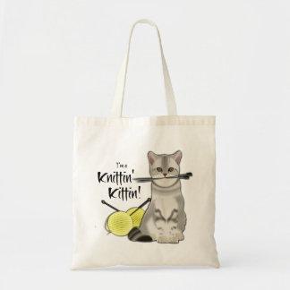 Le coton fourre-tout de sac de tricot de chat avec