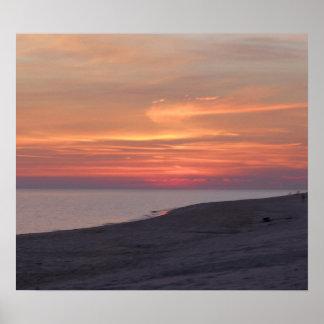 le coucher du soleil au golfe étaye l'Alabama Poster