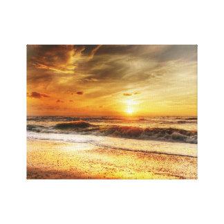 Le coucher du soleil ondule l'art de toile