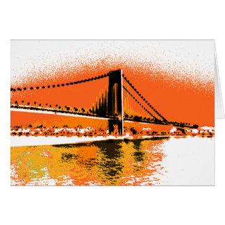 Le coucher du soleil rétrécit la carte de pont