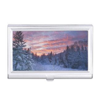 Le coucher du soleil vif peint le ciel au-dessus étui pour cartes de visite