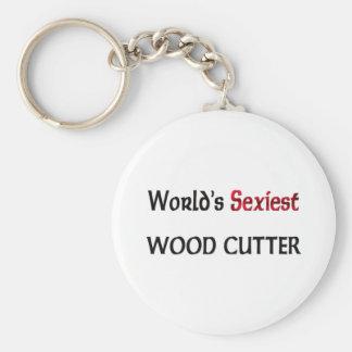 Le coupeur en bois le plus sexy du monde porte-clé rond
