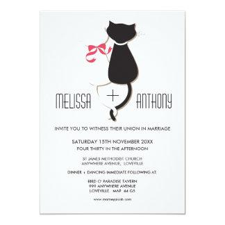 Le couple mignon de chat barre l'invitation de carton d'invitation  12,7 cm x 17,78 cm