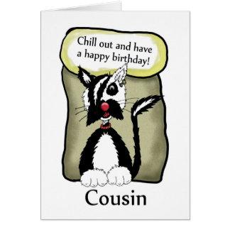 Le cousin refroidissent la carte d'anniversaire -