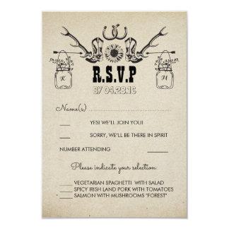 Le cowboy chausse le pays RSVP l'épousant rustique Carton D'invitation 8,89 Cm X 12,70 Cm