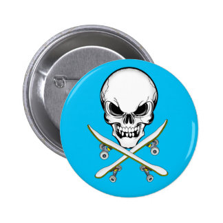 Le crâne avec la croix fait de la planche à roulet badge rond 5 cm