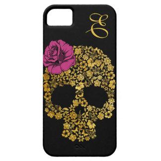 Le crâne floral d or avec s est levé cas de l iPho Étuis iPhone 5
