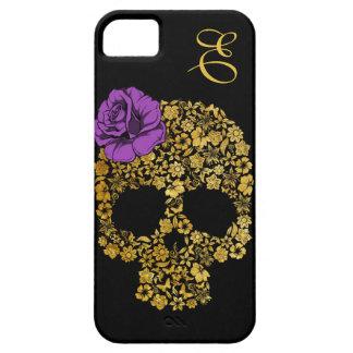 Le crâne floral d or avec s est levé cas de l iPho Coque iPhone 5