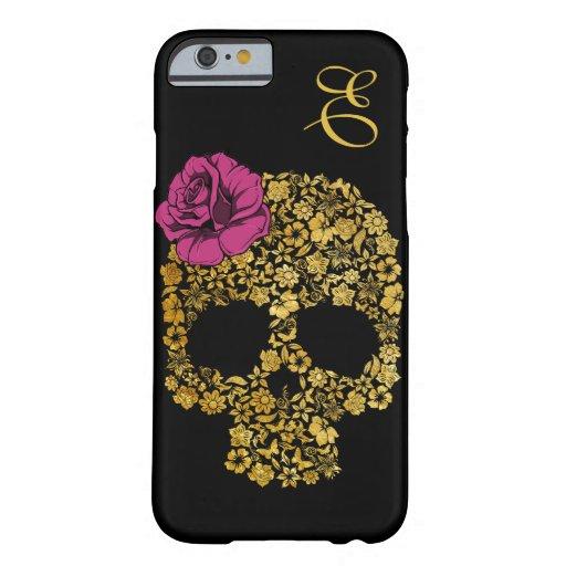 Le crâne floral d'or avec s'est levé cas de l'iPho Coque iPhone 6 Barely There