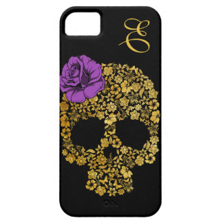 Le crâne floral d'or avec s'est levé cas de l'iPho Coque iPhone 5 Case-Mate
