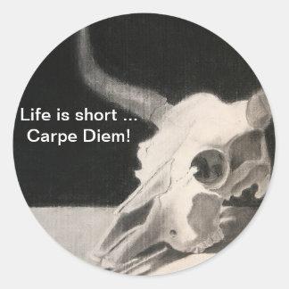 le crâne, la vie est… Carpe court Diem ! Sticker Rond