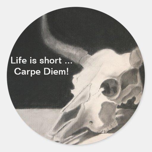 le crâne, la vie est… Carpe court Diem ! Adhésifs