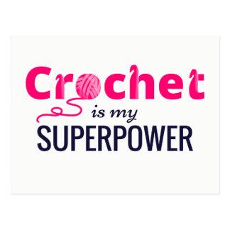 Le crochet est la ma superpuissance dans le rose carte postale