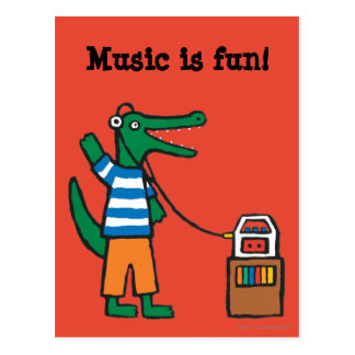 Le crocodile frais écoute la musique cartes postales