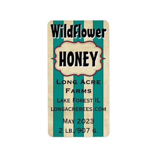 Le cru barre le pot de miel customisé par fleur étiquettes d'adresse