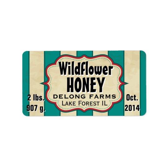 Le cru barre le pot de miel de fleur sauvage - étiquettes d'adresse