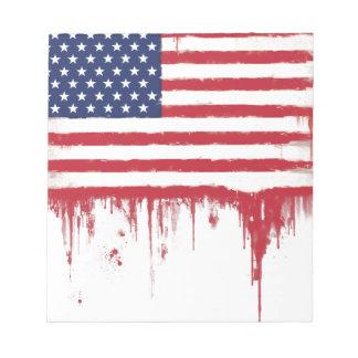 Le cru de drapeau américain éclabousse bloc-note