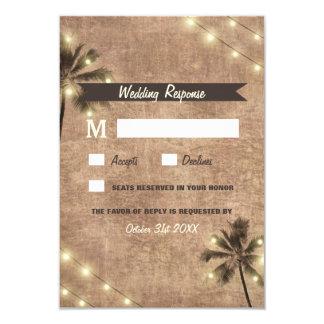 Le cru de palmier allume des cartes du mariage de carton d'invitation 8,89 cm x 12,70 cm